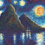 "The Pitons, Saint Lucia. Acrylic on canvasboard, 8x10"""