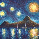 "Pigeon Island, Saint Lucia. Acrylic on canvasboard, 8x10"""