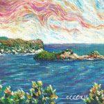 """Dennery Bay and Island, Saint Lucia. Acrylic on canvasboard, 8x10"""""""