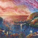 """Marigot Bay, Saint Lucia. Acrylic on canvasboard, 8x10"""""""