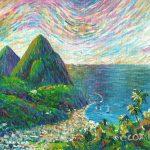 "Soufriere Bay, Saint Lucia. Acrylic on canvasboard, 8x10"""