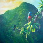 'Gimie Dawn 3' St. Lucia Parrots, Acrylic on canvas, 40x32""