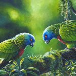 Out on a Limb - St. Lucia Parrots, Acrylic on canvas, 14x18""