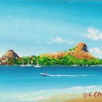 """'Perfect Day' Pigeon Island, St. Lucia, Acrylic on canvasboard, 5x7"""""""