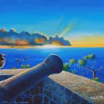 "Silent Guard, Fort Rodney, St. Lucia, Acrylic on canvas, 24x30"""