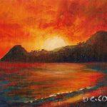 "'Sky Ablaze' Pigeon Island, St. Lucia, Acrylic on canvasboard, 5x7"""