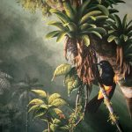 "St. Lucia Oriole in bromeliads, Acrylic on hardboard, 20x18"""