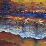 """Surfbirds, Acrylic on canvas, 8x12"""""""