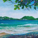 """Vigie Beach, St. Lucia, Acrylic on canvas, 18x36"""""""