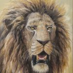 'Veteran' Lion, Oil on canvas, 20x16""