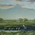 "Dawning Mt. Kenya Oil on panelboard 18x36"""